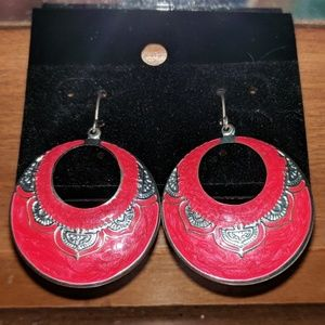 Fire Red Fashion Earrings! VINTAGE!!!
